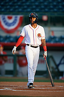 Florida Fire Frogs Cristian Pache (25) at bat during a game against the Palm Beach Cardinals on May 1, 2018 at Osceola County Stadium in Kissimmee, Florida.  Florida defeated Palm Beach 3-2.  (Mike Janes/Four Seam Images)
