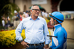 JULY 24, 2021: Tim Yakeen and Tyler Base talk before a race at Del Mar Fairgrounds in Del Mar, California on July 24, 2021. Evers/Eclipse Sportswire/CSM