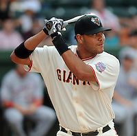 Infielder Chris Dominguez (19) of the Augusta GreenJackets hits in the home run derby at the 2010 South Atlantic League All-Star Game on Tuesday, June 22, 2010, at Fluor Field at the West End in Greenville, S.C. Photo by: Tom Priddy/Four Seam Images