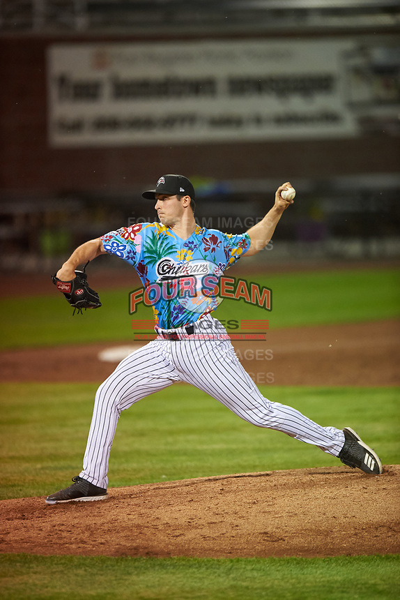 Idaho Falls Chukars relief pitcher Augie Sylk (35) delivers a pitch during a Pioneer League game against the Missoula Osprey at Melaleuca Field on August 20, 2019 in Idaho Falls, Idaho. Idaho Falls defeated Missoula 6-3. (Zachary Lucy/Four Seam Images)