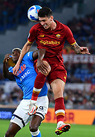 Calcio, Serie A: AS Roma vs SSC Napoli, Olympic stadium, October 24, 2021.<br /> Roma's Roger Ibanez (R) in action with Napoli's Victor Osimhen (L) during the Italian Serie A football match between Roma and Napoli at Rome's Olympic stadium, on , October 24, 2021. <br /> UPDATE IMAGES PRESS/Isabella Bonotto