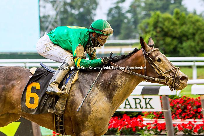 JULY 11, 2020 : Cobble Hill with jockey Kendrick Carmouche win race 3 by 7 lengths at Belmont Park, Elmont, NY.  Sue Kawczynski/Eclipse Sportswire/CSM