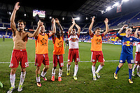 Harrison, NJ - Wednesday Aug. 03, 2016: Damien Perrinelle, Shaun Wright-Phillips, Sacha Kljestan, Ryan Meara during a CONCACAF Champions League match between the New York Red Bulls and Antigua at Red Bull Arena.