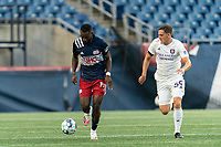 FOXBOROUGH, MA - AUGUST 7: Mayele Malango #10 of New England Revolution II brings the ball forward during a game between Orlando City B and New England Revolution II at Gillette Stadium on August 7, 2020 in Foxborough, Massachusetts.