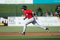 Alex Call (2) of the Kannapolis Intimidators takes off for second base during the game against the Greensboro Grasshoppers at Intimidators Stadium on July 17, 2016 in Greensboro, North Carolina.  The Grasshoppers defeated the Intimidators 5-4 in game two of a double-header.  (Brian Westerholt/Four Seam Images)