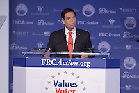 Washington, DC - September 25, 2015: Sen. Marco Rubio addresses attendees of the Values Voter Summit at the Omni Shoreham Hotel in the District of Columbia September 25, 2015.  (Photo by Don Baxter/Media Images International)