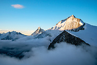 Sunrise in the Swiss Alps. Matterhorn, Dent Blanche and Grand Cornier.