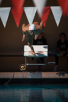 STANFORD, CA - February 17, 2018: Alex Liang at Avery Aquatic Center. The Stanford Cardinal defeated the California Golden Bears 151-149 on Senior Day.