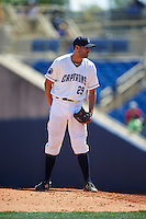 Lake County Captains relief pitcher Christian Meister (29) during a game against the South Bend Cubs on July 27, 2016 at Classic Park in Eastlake, Ohio.  Lake County defeated South Bend 5-4.  (Mike Janes/Four Seam Images)