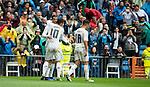 Real Madrid's james Rodriguez, Cristiano Ronaldo and Lucas Vazquez during La Liga match. May 08,2016. (ALTERPHOTOS/BorjaB.Hojas)