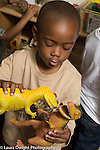Preschool 4 year olds boy playing with toy dinosaurs, talking