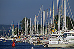 Opening Day of boating along the Montlake Cut with boats lined up on Union Bay  Seattle Washington State USA.