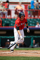 Erie SeaWolves catcher Grayson Greiner (21) runs to first base during a game against the Reading Fightin Phils on May 18, 2017 at UPMC Park in Erie, Pennsylvania.  Reading defeated Erie 8-3.  (Mike Janes/Four Seam Images)