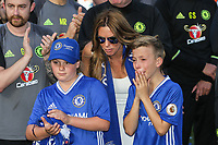 John Terry's son gets emotional as he father addresses the Chelsea supporters after lifting the Premier League Trophy after his last Premier League match following the EPL - Premier League match between Chelsea and Sunderland at Stamford Bridge, London, England on 21 May 2017. Photo by David Horn.