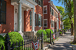 Historic brick homes on Main Street in Nantucket Town, Nantucket, MA, USA