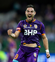 24th March 2021; HBF Park, Perth, Western Australia, Australia; A League Football, Perth Glory versus Sydney FC; Bruno Fornaroli Mezza of the Perth Glory celebrates scoring in the 43rd minute to make the score 1-0 only to be called off side by the linesman then have the goal reinstated by the video referee