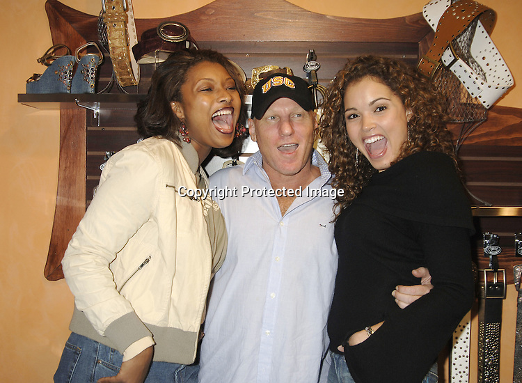 Toccara Jones, Steve Madden and Susie Castillo ..at a party to unveil a new line of leather handbags and belts for Spring 2006 by Steve Madden in partnership with Daniel M. Friedman & Associates on November 9, 2005 at the Daniel M. Friedman Showroom. ..Photo by Robin Platzer, Twin Images