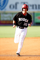 Brian Olson (30) of the Chattanooga Lookouts rounds the bases in the game against the Mobile BayBears on June 3, 2018 at AT&T Field in Chattanooga, Tennessee. (Andy Mitchell/Four Seam Images)