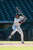 Glendale Desert Dogs center fielder Luis Alexander Basabe (15), of the Chicago White Sox organization, at bat during an Arizona Fall League game against the Surprise Saguaros at Surprise Stadium on November 13, 2018 in Surprise, Arizona. Surprise defeated Glendale 9-2. (Zachary Lucy/Four Seam Images)