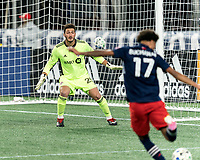 FOXBOROUGH, MA - OCTOBER 7: Alexander Bono #25 of Toronto FC faces a shot during a game between Toronto FC and New England Revolution at Gillette Stadium on October 7, 2020 in Foxborough, Massachusetts.