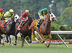 1 August 10: Get Serious and jockey Pablo Fragosa winning The Oceanport Stakes on Haskell Invitational Day at Monouth Park in Oceanport, New Jersey