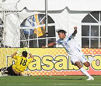 Honduras forward Carlos Costly (13) celebrates his score in the 51th minute of the game. Honduras National Team defeated El Salvador 3-0 at RFK stadium, Saturday June 2, 2012.