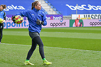 goalkeeper Josephine Delvaux (1) of KRC Genk pictured during a female soccer game between  Racing Genk Ladies and SV Zulte-Waregem on the 18 th and last matchday before the play offs of the 2020 - 2021 season of Belgian Scooore Womens Super League , saturday 27 th of March 2021  in Genk , Belgium . PHOTO SPORTPIX.BE | SPP | JILL DELSAUX