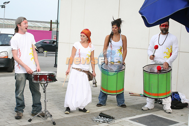 Sambarrada from Galway played at the Launch of the Samba Festival in the D Hotel...Photo NEWSFILE/Jenny Matthews.(Photo credit should read Jenny Matthews/NEWSFILE)....This Picture has been sent you under the condtions enclosed by:.Newsfile Ltd..The Studio,.Millmount Abbey,.Drogheda,.Co Meath..Ireland..Tel: +353(0)41-9871240.Fax: +353(0)41-9871260.GSM: +353(0)86-2500958.email: pictures@newsfile.ie.www.newsfile.ie.FTP: 193.120.102.198.
