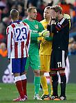 Atletico de Madrid's Joao Miranda (l) and Jan Oblak (c-l) and Bayer 04 Leverkusen's Stefan Kiessling (c-r) and Bernd Leno (r) after Champions League 2014/2015 match.March 16,2015. (ALTERPHOTOS/Acero)
