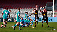 17th April 2021; Twickenham Stoop, London, England; English Premiership Rugby, Harlequins versus Worcester Warriors; Hougaard of Worcester warriors clears with a box kick under huge pressure