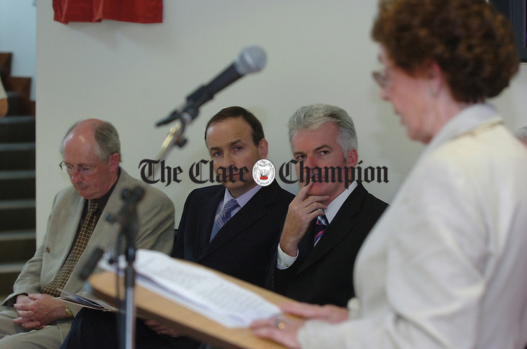 Minister Micheal Martin and Shannon development chief executive Kevin Thompstone  listen to the welcoming adress by Mayor of Ennis Mary Coote Ryan at  the official opening ceremony of the new Information Age park at the Gort Road, Ennis on Thursday last.. Photograph by John Kelly.