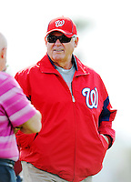 25 February 2012: Washington Nationals' Assistant General Manager & Vice President of Player Development Bob Boone watches his team during the first full squad Spring Training workout at the Carl Barger Baseball Complex in Viera, Florida. Mandatory Credit: Ed Wolfstein Photo