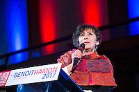 Marie-Monique Robin au meeting de Benoit Hamon ‡ Paris ‡ l'institut National du Judo le 18 janvier 2017 dans le cadre de la primaire de la gauche