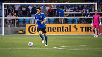 SAN JOSE, CA - JULY 24: Nathan #13 of the San Jose Earthquakes dribbles the ball during a game between San Jose Earthquakes and Houston Dynamo at PayPal Park on July 24, 2021 in San Jose, California.