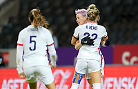 SOLNA, SWEDEN - APRIL 10: Megan Rapinoe #15 of the United States scores a PK goal and celebrates during a game between Sweden and USWNT at Friends Arena on April 10, 2021 in Solna, Sweden.