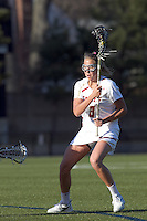 Boston College midfielder Hannah Alley (8) on the attack. University at Albany defeated Boston College, 11-10, at Newton Campus Field, on March 30, 2011.