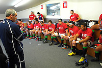 Marist coach Murray Tocker talks to the team before the Wellington Club Rugby Jubilee Cup match between Marist St Pats and Tawa at Evans Bay Park, Wellington, New Zealand on Saturday, 7 July 2012. Photo: Dave Lintott / lintottphoto.co.nz