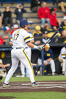 Michigan Wolverines first baseman Drew Lugbauer (17) at the plate against the Eastern Michigan Hurons on May 3, 2016 at Ray Fisher Stadium in Ann Arbor, Michigan. Michigan defeated Eastern Michigan 12-4. (Andrew Woolley/Four Seam Images)