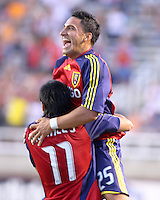 Tino Nunez (25) and Javier Morales (11) celebrate after Nunez scores RSL's 2nd goal in the 1-2 RSL win at Rice Eccles Stadium in Salt Lake City, Utah on  June 21, 2008.