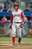Williamsport Crosscutters outfielder Jiandido Tromp #28 during a NY-Penn League game against the Batavia Muckdogs at Dwyer Stadium on August 11, 2012 in Batavia, New York.  Williamsport defeated Batavia 5-4.  (Mike Janes/Four Seam Images)