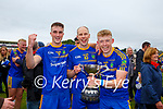 Spa players Gary Vaughan, Niall O'Mahony and Evan Cronin celebrate after winning the Intermediate Club Championship  after defeating Beaufort in the final in Fitzgerald Stadium on Sunday