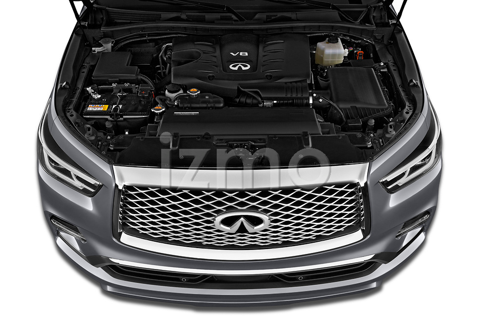 Car stock 2020 Infiniti QX80 Luxe 5 Door SUV engine high angle detail view