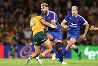 17th July 2021; Brisbane, Australia;  French coach Fabien Galthie during the Australia versus France, 3rd Rugby Test at Suncorp Stadium, Brisbane, Australia on Saturday 17th July 2021.