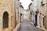 Village street. St Jean de Fos village. Languedoc. France. Europe.