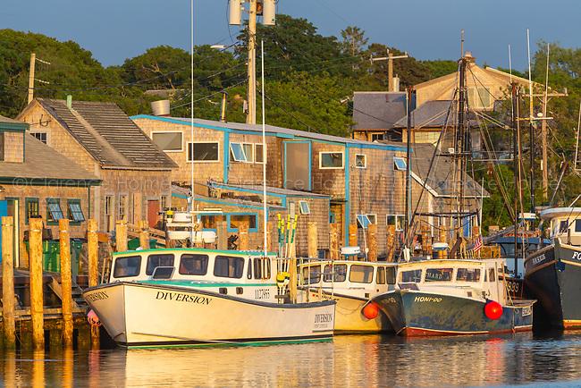 Commercial fishing boats docked in Menemsha Basin, in the fishing village of Menemsha in Chilmark, Massachusetts on Martha's Vineyard.