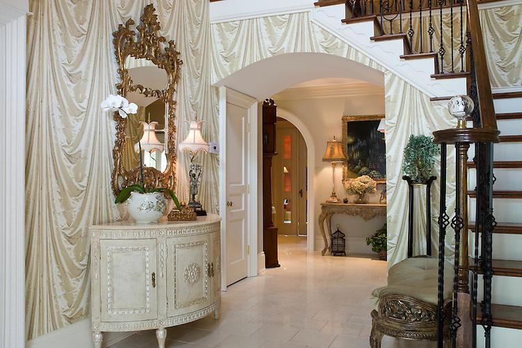 French Country Foyer with Casa Stradavari demi-lune