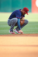 Lehigh Valley IronPigs shortstop J.P. Crawford (3) writes in the infield dirt during a game against the Buffalo Bisons on July 9, 2016 at Coca-Cola Field in Buffalo, New York.  Lehigh Valley defeated Buffalo 9-1 in a rain shortened game.  (Mike Janes/Four Seam Images)