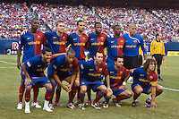 FC Barcelona starting XI. FC Barcelona defeated the New York Red Bulls 6-2 during an international friendly at Giants Stadium in East Rutherford, NJ, on August 6, 2008.
