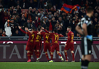 Football, Serie A: AS Roma - S.S. Lazio, Olympic stadium, Rome, January 26, 2020. <br /> Roma's captain Edin Dzeko celebrates after scoring with his teammates during the Italian Serie A football match between Roma and Lazio at Olympic stadium in Rome, on January,  26, 2020. <br /> UPDATE IMAGES PRESS/Isabella Bonotto