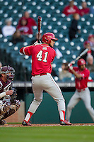 Nebraska Cornhuskers outfielder Austin Darby (41) at bat during Houston College Classic against the Texas A&M Aggies on March 6, 2015 at Minute Maid Park in Houston, Texas. Texas A&M defeated Nebraska 2-1. (Andrew Woolley/Four Seam Images)